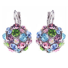 Women's  Wedding Party Colorful Zircon Silver Tone Eardrop Leverback Earrings