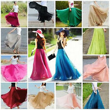 Double Layer Chiffon Pleated Retro Long Maxi Dress Elastic Waist Skirt Women New