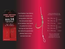 FTD - 16 (2 packs) DRENNAN CARP METHOD Hair Rig Eyed Barbless Match Fishing Hook