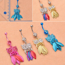 Charm Lady Surgical Steel Crystal Barbell Bar Dangle Owl Shape Belly Navel Ring