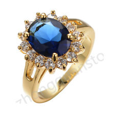 Ring Size 8/9 Jewelry Blue Sapphire Women's 10Kt Yellow Gold Filled Wedding Gift