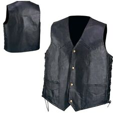 Genuine Black Leather Vest Pebble Grain Hand-Sewn Solid Biker Motorcycle Mens