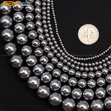 """Hematite Stone Beads For Jewelry Making 15"""" No Magnetic Silver-plated Wholesale"""