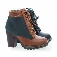 Tracker02 Wool Round Toe Lace Up Block High Heel Ankle Boots