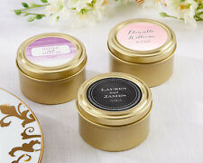 144 Personalized Wedding Theme Round Gold Candy Tins Wedding Favors