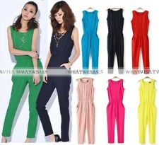 Sexy Damen Jumpsuit Overall Haremshose Sommeroverall Hausanzug Lang HUK