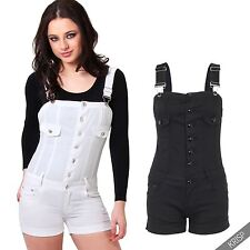 Womens Skinny Fitted Stretch Denim Jeans Dungarees Shorts Pin Up Playsuit Romper