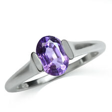 1.22ct. Natural Oval Amethyst 925 Sterling Silver Solitaire Ring