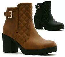 LADIES WOMENS QUILTED BOOTS CHUNKY HIGH HEEL PLATFORM BOOTIES SHOES SIZE UK 3-8