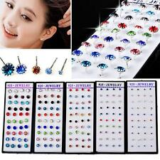 Wholesale 40pcs Lots Silver Crystal Rhinestone Ear Stud Earring with display box