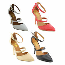 X2B PATTY-2 Womens Pointed Toe Closed Back Stiletto Heel Ankle Strap Dress Pumps