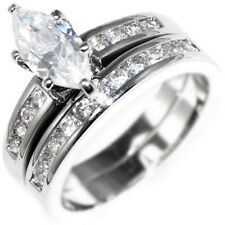 1.82CTW MARQUISE BRILLIANT CUT STONE -WEDDING RING SET (2 rings) 5,6,7,8,9,10