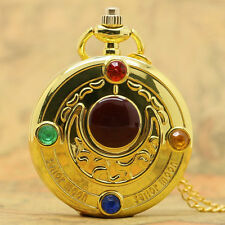 New Sailor Moon Five-pointed star/Moon Necklace Quartz Pocket Watch Womens Girls