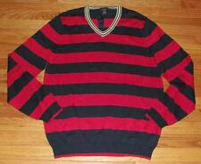 NEW NWT Mens Brooks Brothers V-Neck Sweater 100% Cotton Red/Navy Striped $79 *2A