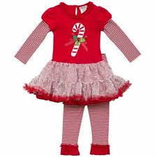 RARE EDITIONS® Toddler Girls 4T Holiday Red 2-pc. Candy Cane Dress Set NWT