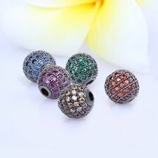 AAA CZ Crystal rhinestone Gumental spacer pave round beads DIY jewelry Making