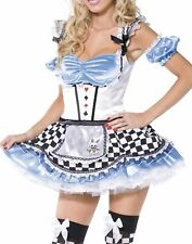 Alice In Wonderland Sexy Womens Fairytale Hens Party Halloween Dress Costume S-M