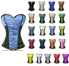 Full Steel Steel Boned Heavy Lacing Satin Overbust Burlesque Shaper Corset #8106