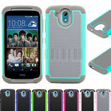 For HTC Desire 526G Rugged Hybrid Armor Hard Protective Case Heavy Duty Cover