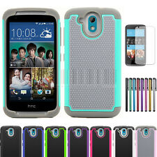 For HTC Desire 526G Rugged Hybrid Armor Hard Protective Case Impact Cover+Film