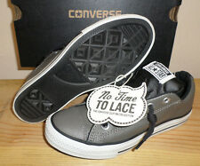 NEW CONVERSE Gray NO TIME TO LACE CT LEATHER All Star Street SNEAKERS NIB BOYS 3
