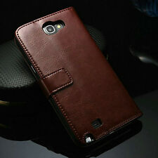 Glossy PU Leather Case For Samsung Galaxy Note 2 II N7100 Flip Wallat Cover Skin