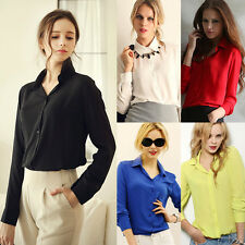 Women Formal Party Long Sleeve Blouse OL Occupation Solid Color Lapel Shirt Tops