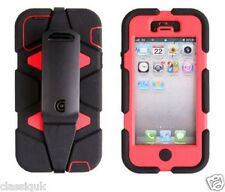 Griffin Survivor Tough Ruged Case Cover For iphone 5S 5 4S 4 Black Red