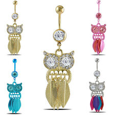 Retro Owl Dangle Stainless Steel Belly Button Navel Ring Body Piercing Jewelry