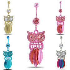 Owl Dangle Stainless Steel Retro Belly Button Navel Ring Body Piercing Jewelry