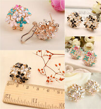 Newest Elegant Crystal Rhinestone Mini Clover Flower Cluster Ear Stud Earrings