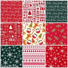 Christmas Fabric Gingerbread Merry Christmas Snowflakes Red White PolyCotton