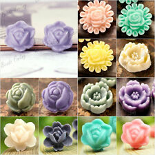 Resin Rose Flower Cabochons Flat back wholesale 10x10/9x9/12x12mm colorful Cameo