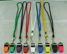 NEW CHROME WHISTLE LANYARD COLORS UMPIRE REFEREE POLICE TEACHER GUARD SECURITY