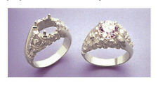 (6-8mm) Round Nugget Swirl Silver RESIZED Pre-Notched Ring Setting (Size 7-14)