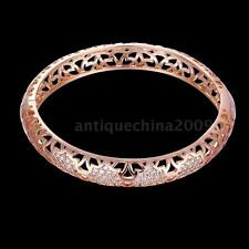 Vintage Hollow Nets Design Zircon Bangle Cuff Bracelet 18K Gold/Rose Gold Plated