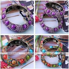 Womens Vintage Faceted Resin Crystal Glass Rhinestone Beads Bracelet Bangle Cuff