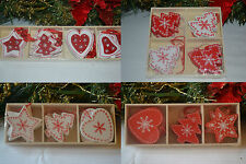 Wooden red white shabby chic christmas decorations tree star heart bells