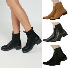 NEW WOMENS LADIES PULL ON FLAT LOW HEEL ELASTICATED ANKLE CHELSEA BOOTS SHOES