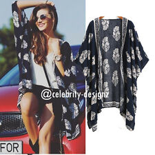Women's Vintage Boho Kimono Jacket Cardigan Beach Cover Up Blouse Top (kw15)