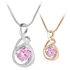 18K white/yellow Gold filled Romantic elegant Pink Sapphire necklace pendant