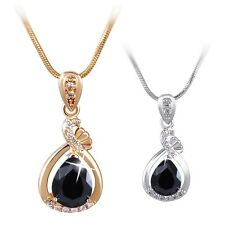 Classic 18K white/yellow Gold filled delicate Black Sapphire necklace pendant