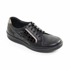 Padders ATOM Ladies Patent Leather Lace Up Wide Fit Comfort Trainer Shoes Black