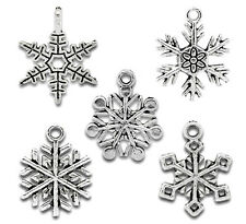 Wholesale HOT! Jewelry Mixed Silver Tone Christmas Snowflake Charm Pendants
