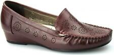Comfort Plus AVELINE Ladies Faux Leather Flexi Wide Fit Wedge Loafers Burgundy
