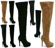 WOMENS OVER THE KNEE LONG THIGH HIGH LADIES HIDDEN PLATFORM HEEL FETISH BOOTS