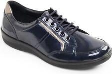 Padders ATOM Ladies Patent Leather Lace Up Wide Fit Trainer Shoes Navy Blue