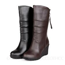 Casual Womens High Heels Winter Zip Mid Calf Chelsea Booties Wedges Boots Size