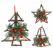 25cm Traditional Hanging Christmas Decoration Rattan Christmas Tree Star or Bell