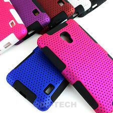 For LG Optimus F6 D500 MS500 APEX Perforated Hybrid Gel Hard Case Cover